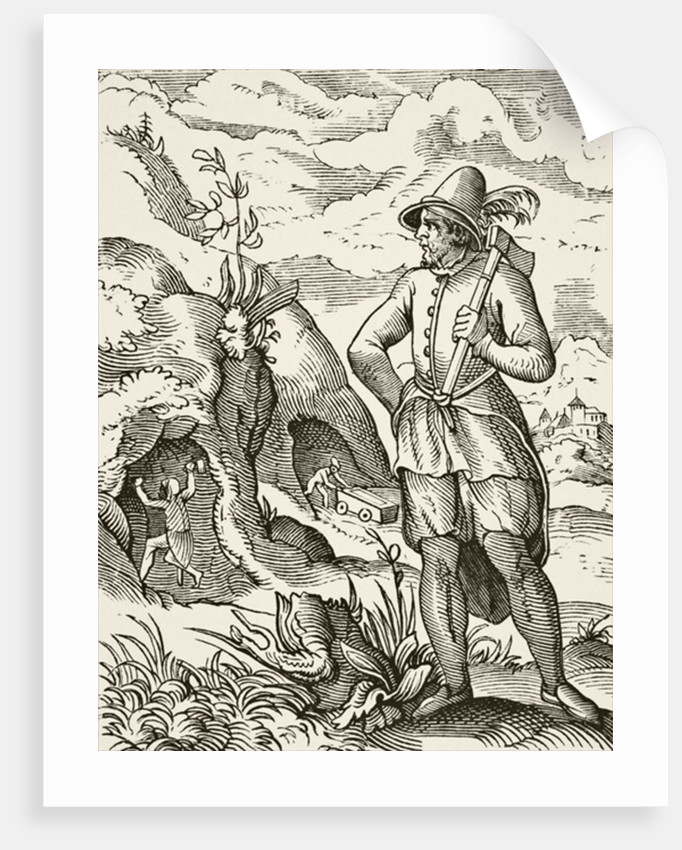 A miner in the 16th century by French School