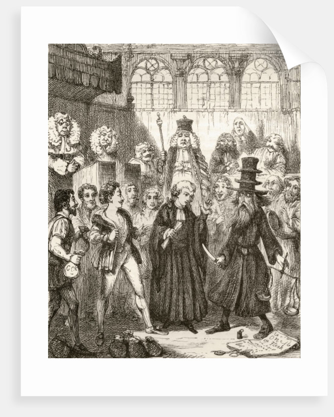 Illustration after George Cruikshank for the poem 'The Merchant of Venice', a legend of Italy by English School