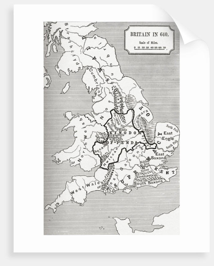 Map of Britain in 640 by English School