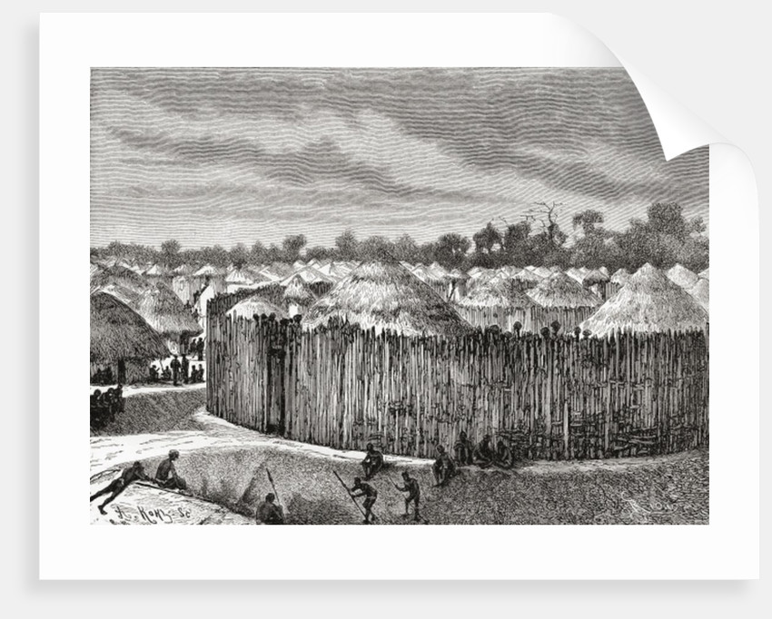 A village in Central Africa during the 19th century by Spanish School