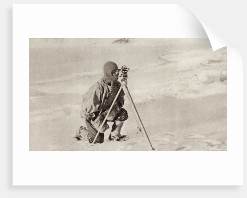Captain Evans observing with the theodolite used by Captain Scott to fix position of the South Pole by English Photographer