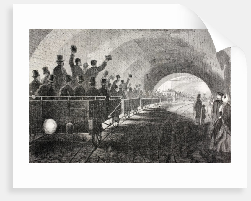 Trial run of train in London Underground in 1862 by Spanish School