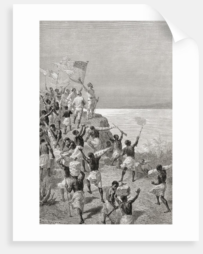 Stanley and his expedition's first sighting of Tanganyika, East Africa, in 1872 by Emile Antoine Bayard