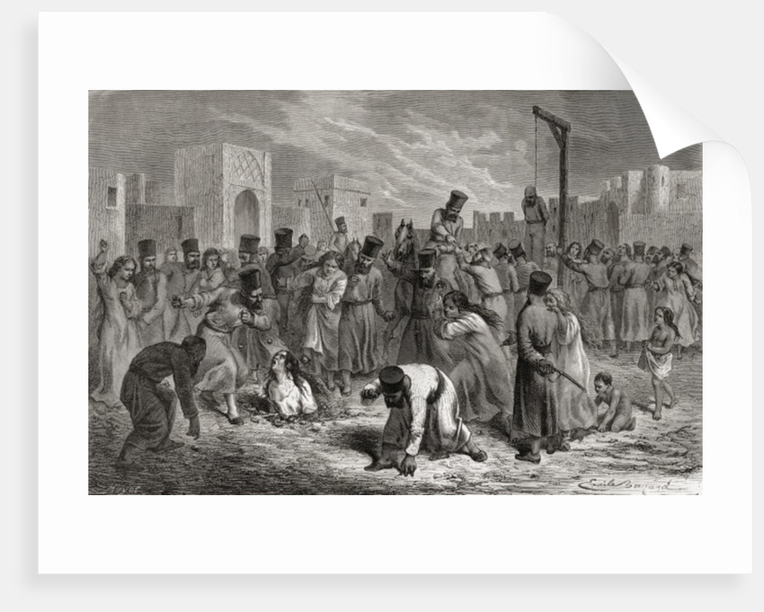 Adulterers being stoned and hung in Turkey by Emile Antoine Bayard