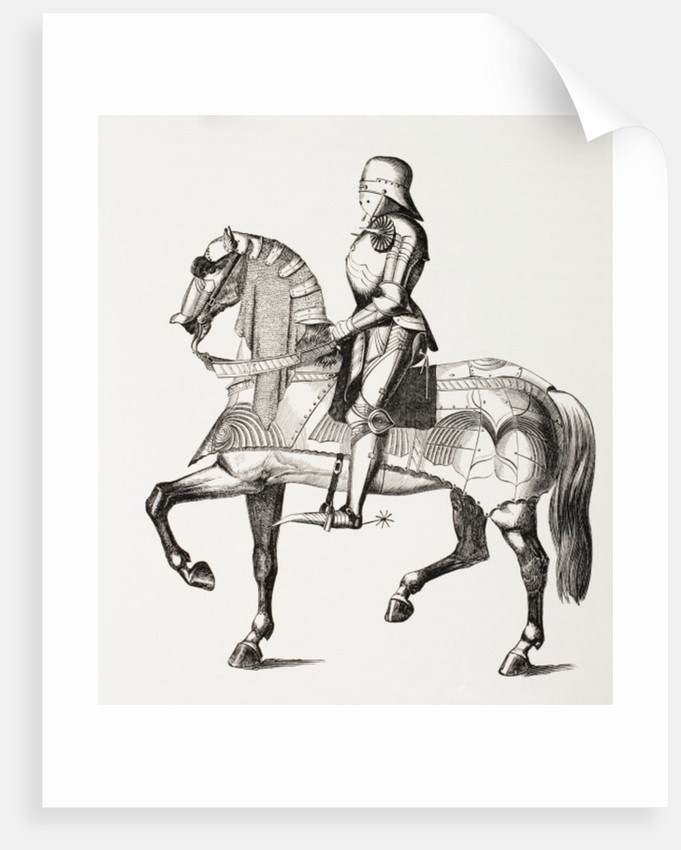 15th century knight in full armour mounted on a horse clad in armour by French School