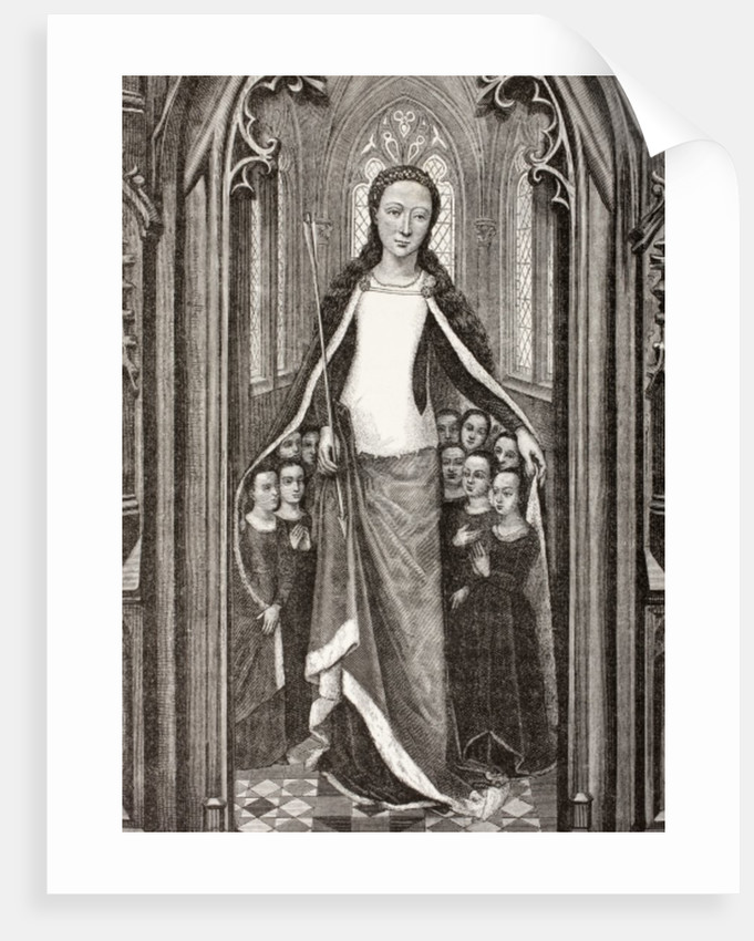 St. Ursula holding an arrow, the symbol of her martyrdom, and protecting virgins beneath her cloak by French School