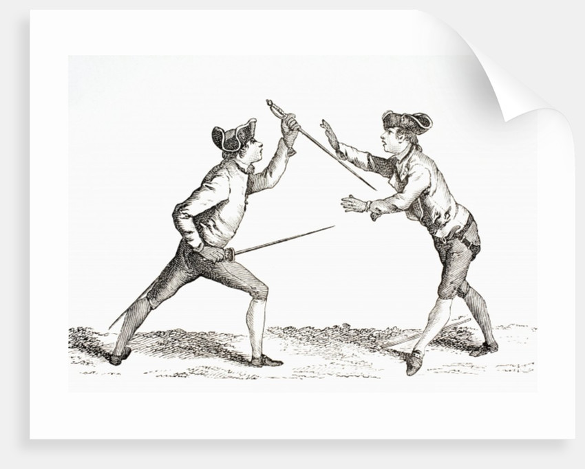 A swordsman disarms his opponent and is in a position to thrust by French School