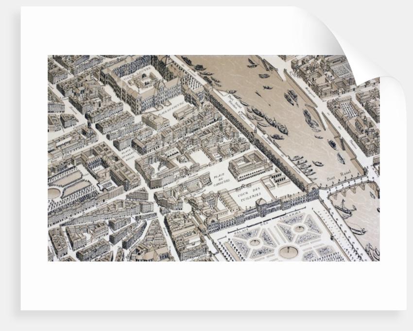 Bird's Eye View of Paris in 1730 by French School
