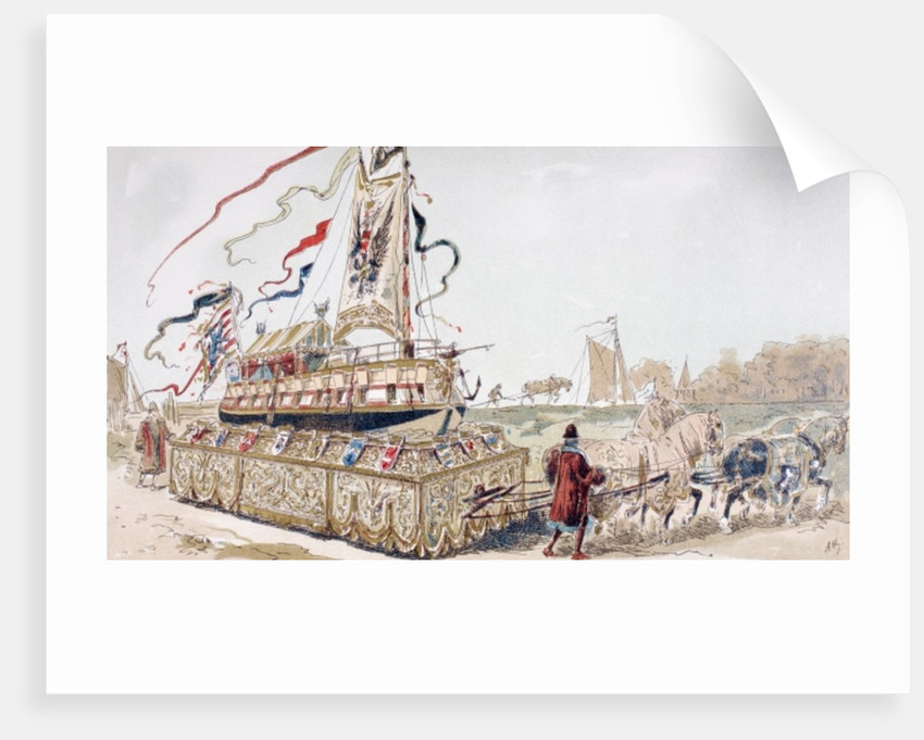 A Royal Barge being Pulled on a Wagon by Horses to a Canal in the 16th Century by Armand Jean Heins