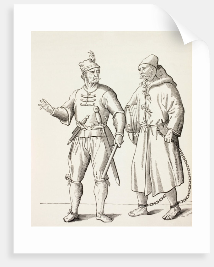 Sixteenth century Galley Soldier with a Galley Slave by European School