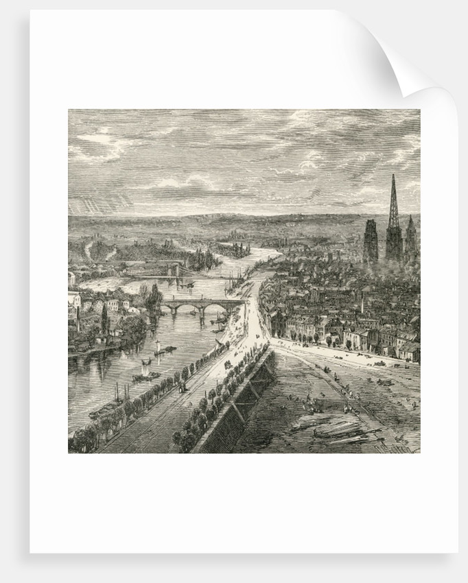 A view of Rouen, Normandy, in the nineteenth century by French School