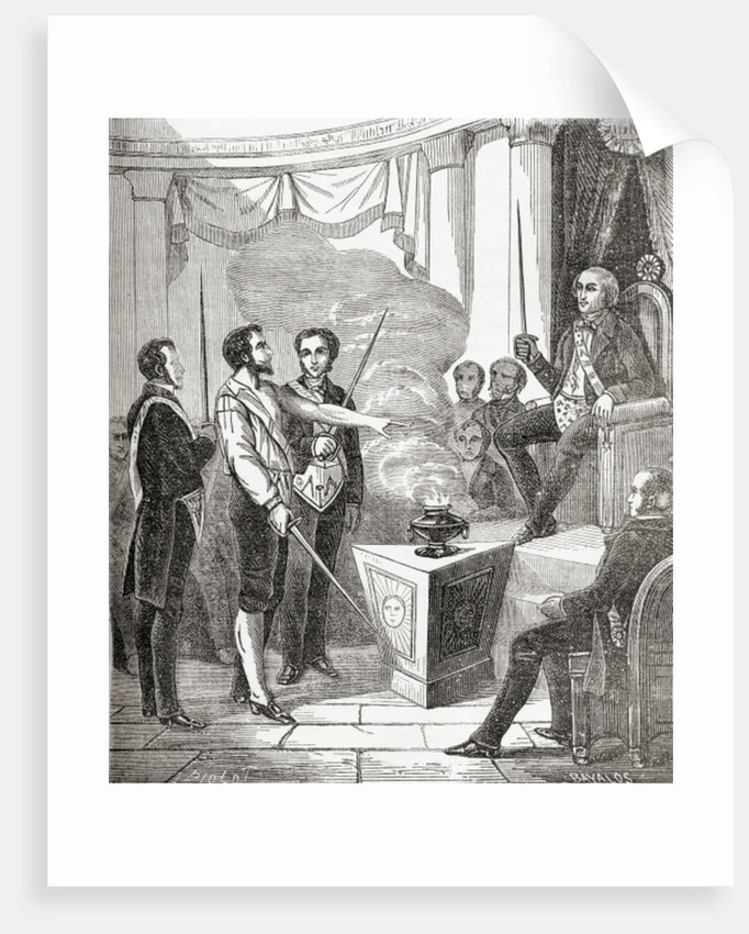 Initiation of a French Mason into the brotherhood by French School