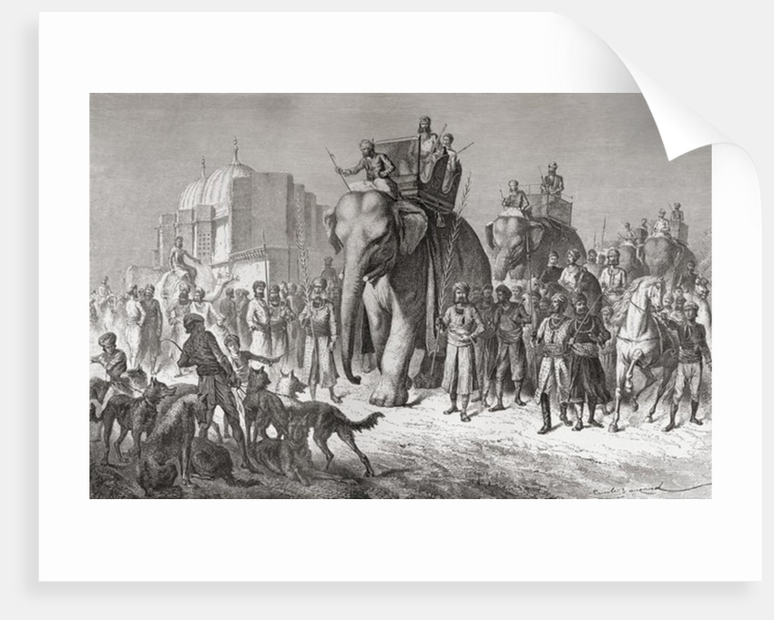 An Indian hunting party riding elephants, prepares to set out on a tiger hunt in the 19th century by Anonymous