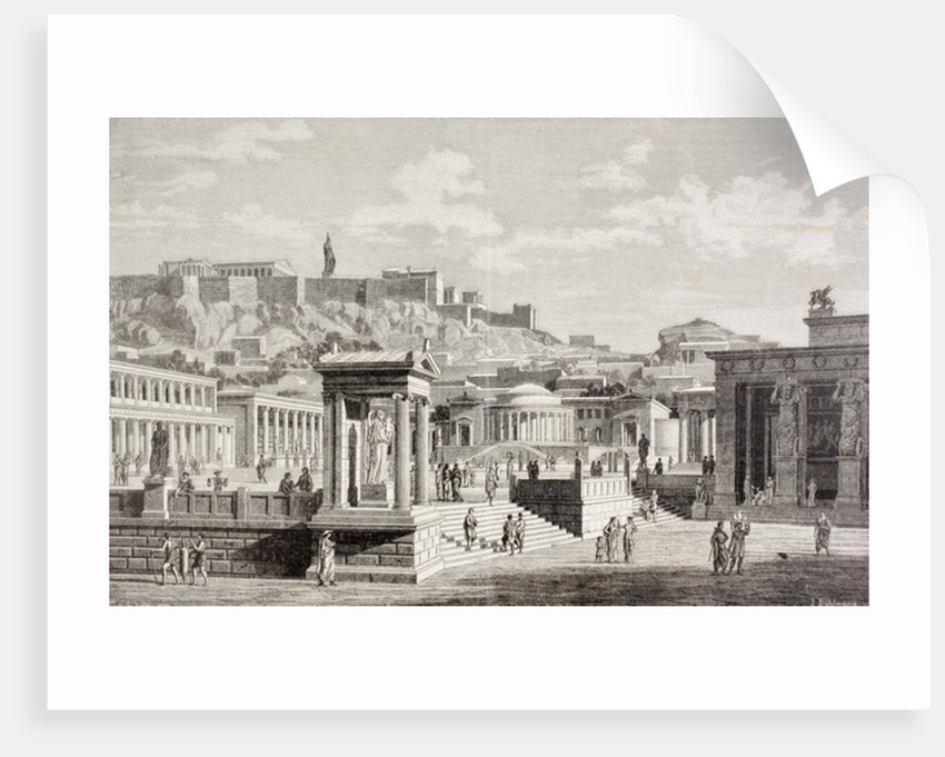 Imaginary view of the market place of Agora in Athens, ancient Greece by European School