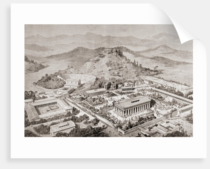 Artist's impression of Olympia, Greece, at the time of the ancient Olympic Games by European School