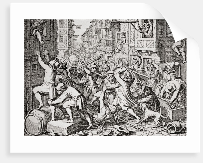 A street brawl in London, England in the 17th century by Anonymous
