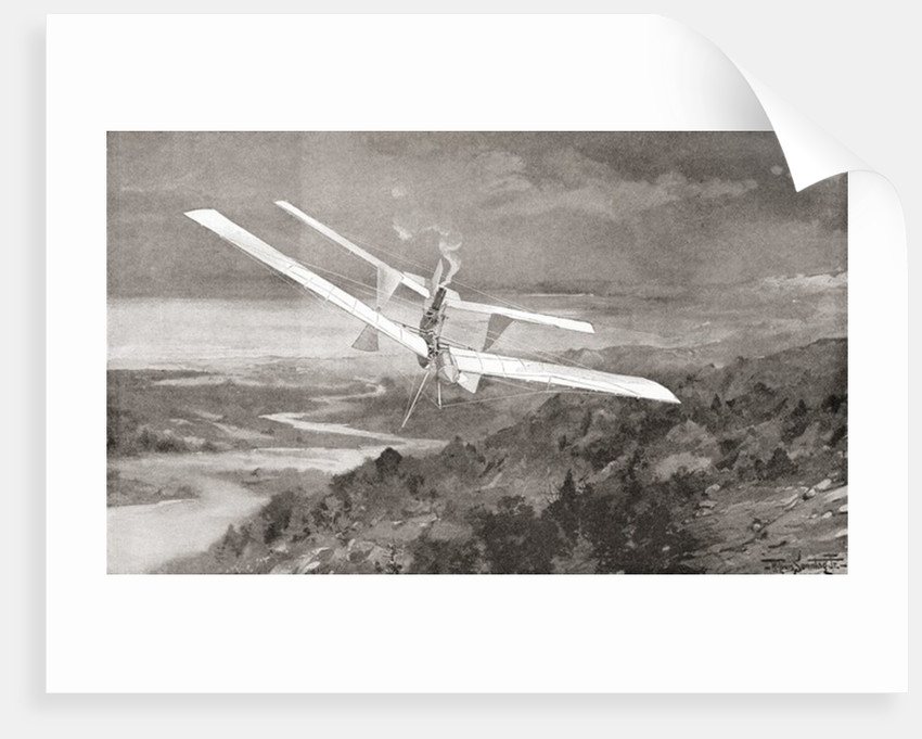 The Langley Aerodrome flying machine in flight in the 19th century by Anonymous