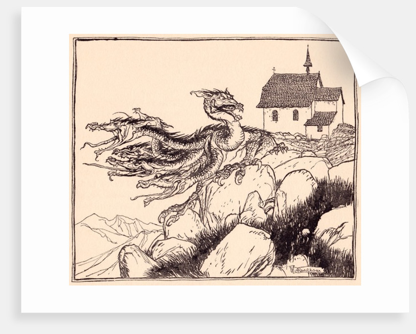 It was not long before the seven headed dragon came, loudly roaring. by Anonymous