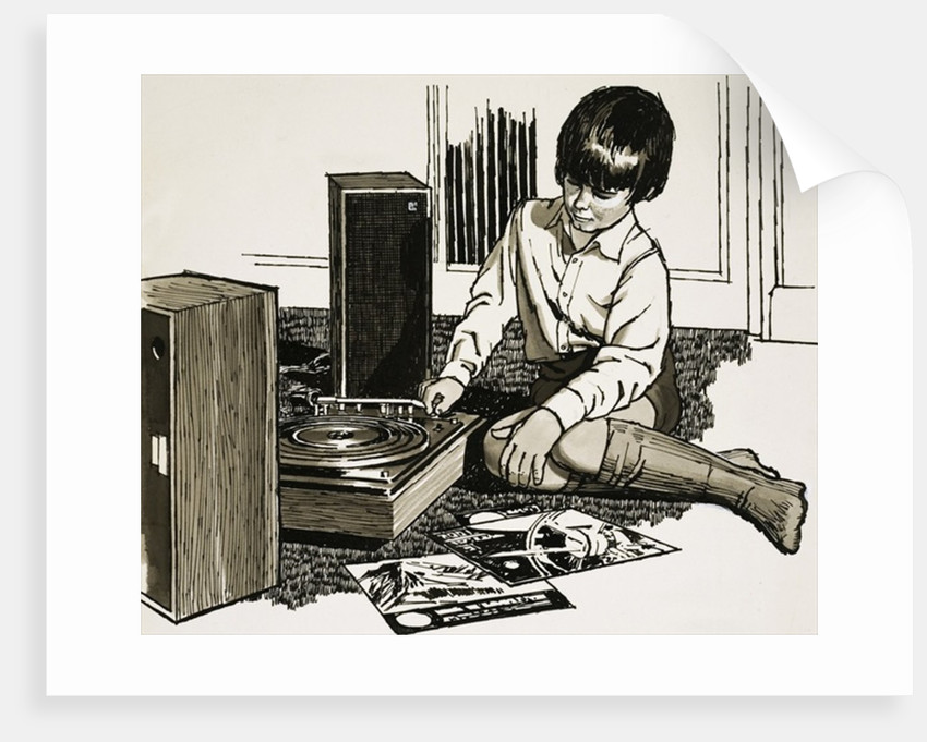 Child playing a record player by English School