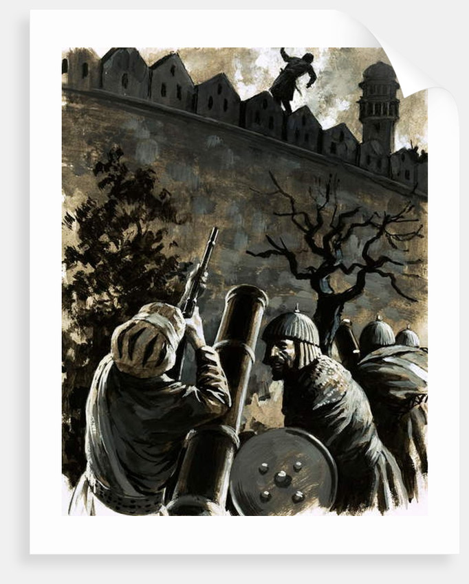 Akbar, King of Hindustan, called for a musket and, taking aim, killed Jaimal, the commander of the fort by English School