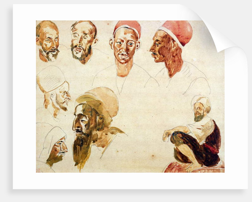 Sketches of Heads by Ferdinand Victor Eugene Delacroix