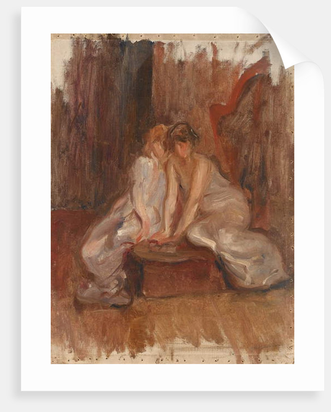 Two women sitted by a harp - c.1900 by Albert de Belleroche