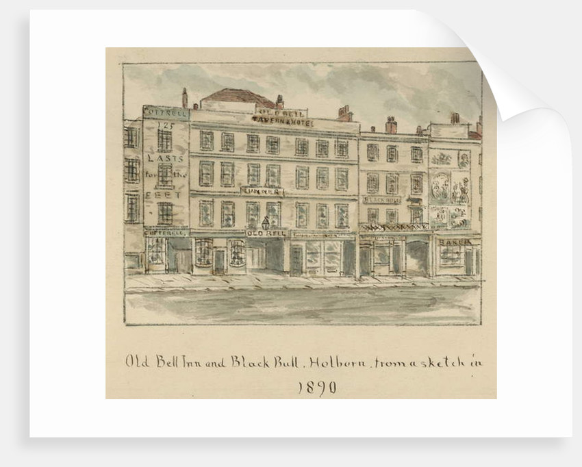 The Old Bell Inn and Black Bull, Holborn, London by English School