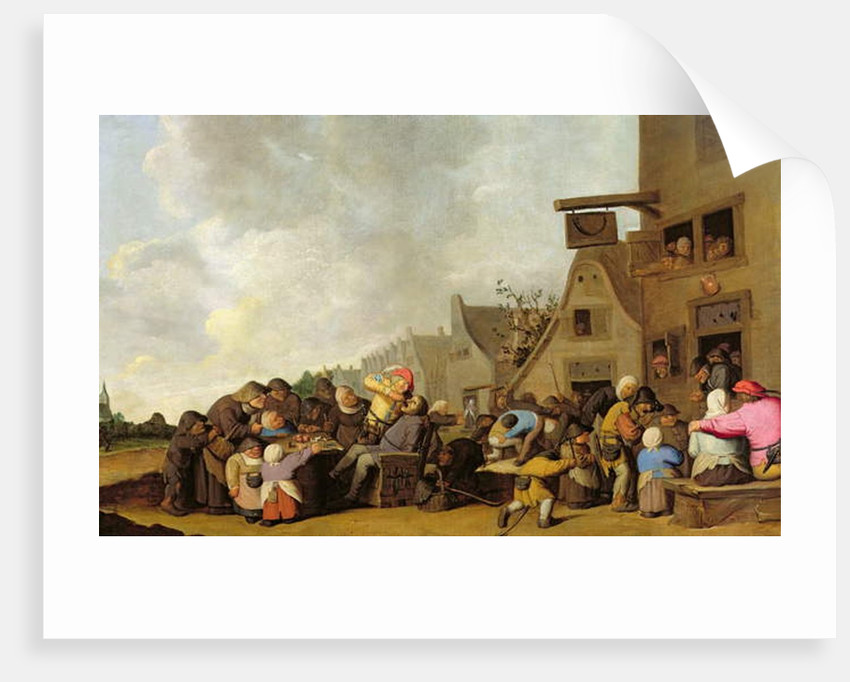 A Village Scene with a Dentist Pulling Teeth and Peasants Fighting Outside a Tavern, c.1630-40 by Peter de Bloot