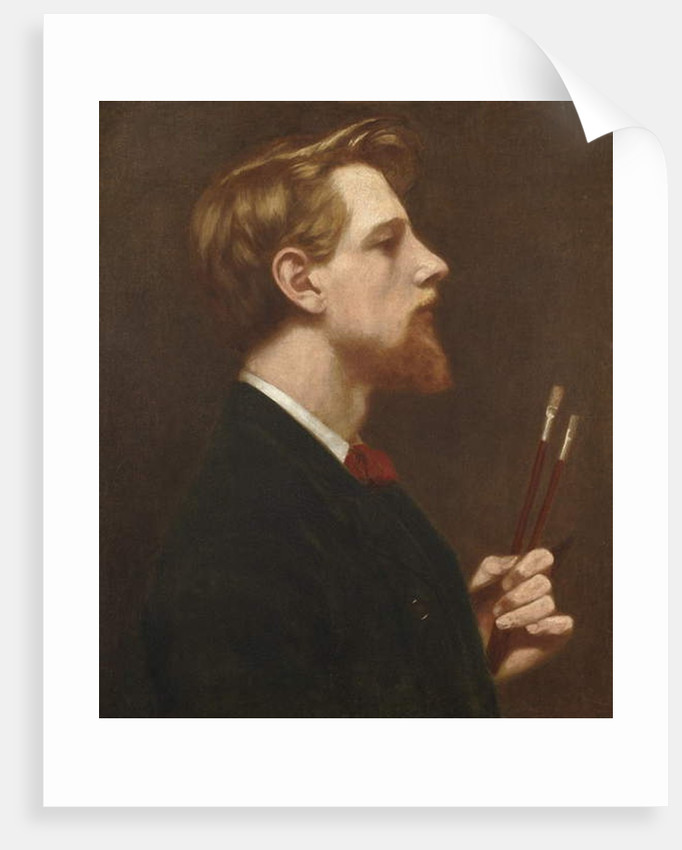 Self Portrait with Two Square Brushes, c.1880 by Thomas Cooper Gotch