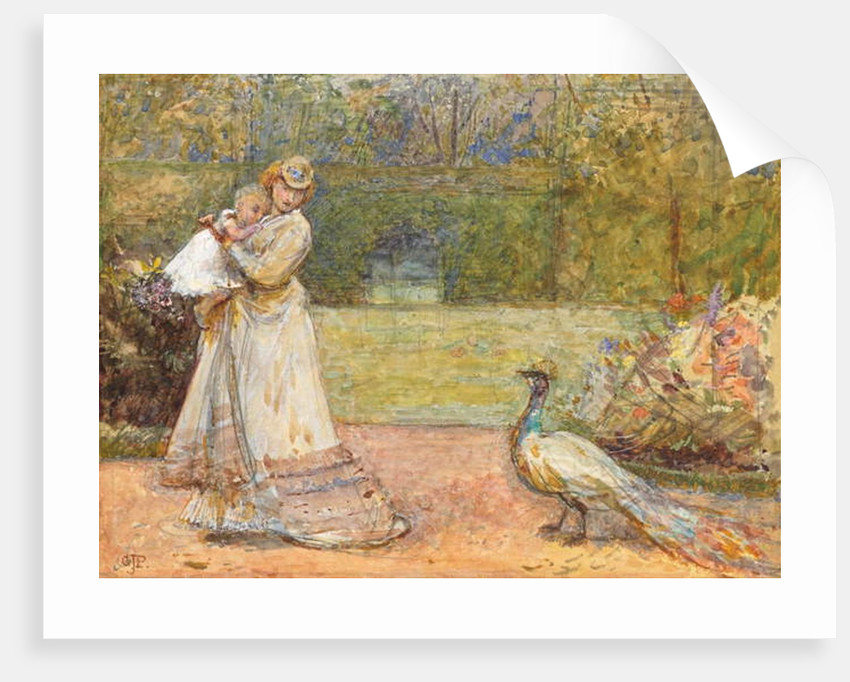 Lady and a Peacock by George John Pinwell