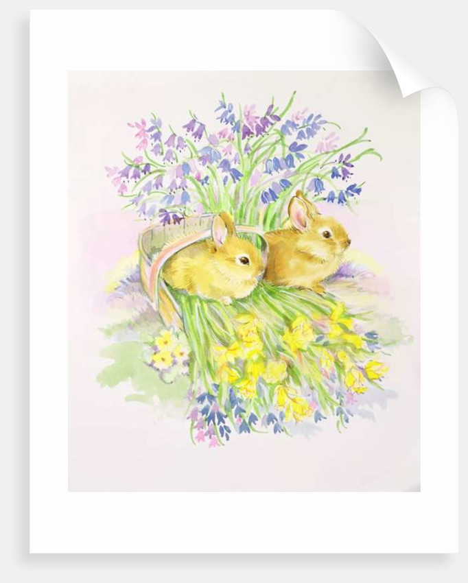 Rabbits in a basket with Daffodils and Bluebells by Diane Matthes