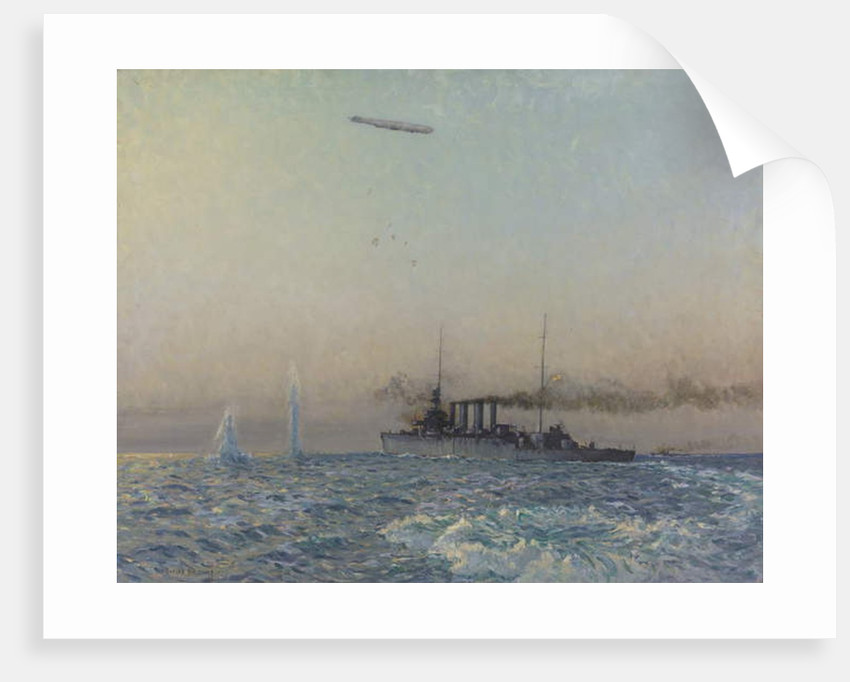 HMAS Sydney's fight with a Zeppelin in the North Sea, 1918 by Charles David Jones Bryant