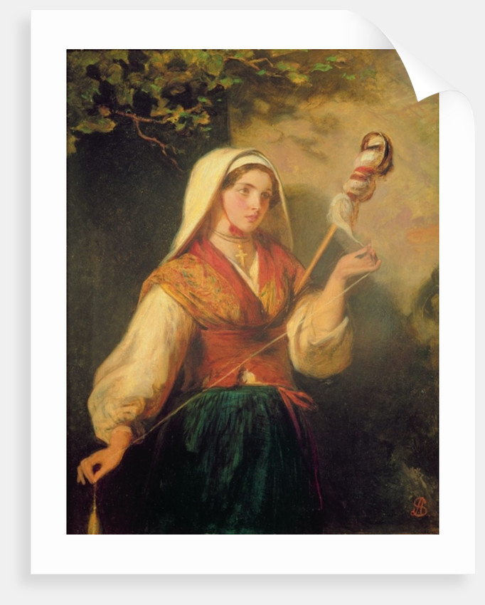 Young Woman Spinning Wool by Abraham Solomon
