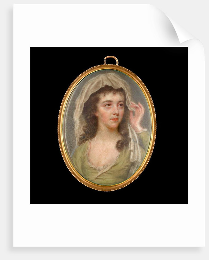 Portrait miniature of a Young Lady wearing a green dress with white chemise, she holds a white veil to cover her dark brown hair, 1781 by John Smart