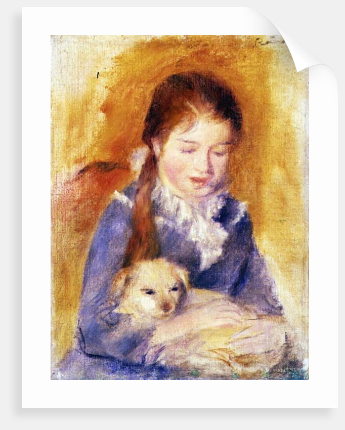 Young Girl with a Dog, c.1875 by Pierre Auguste Renoir