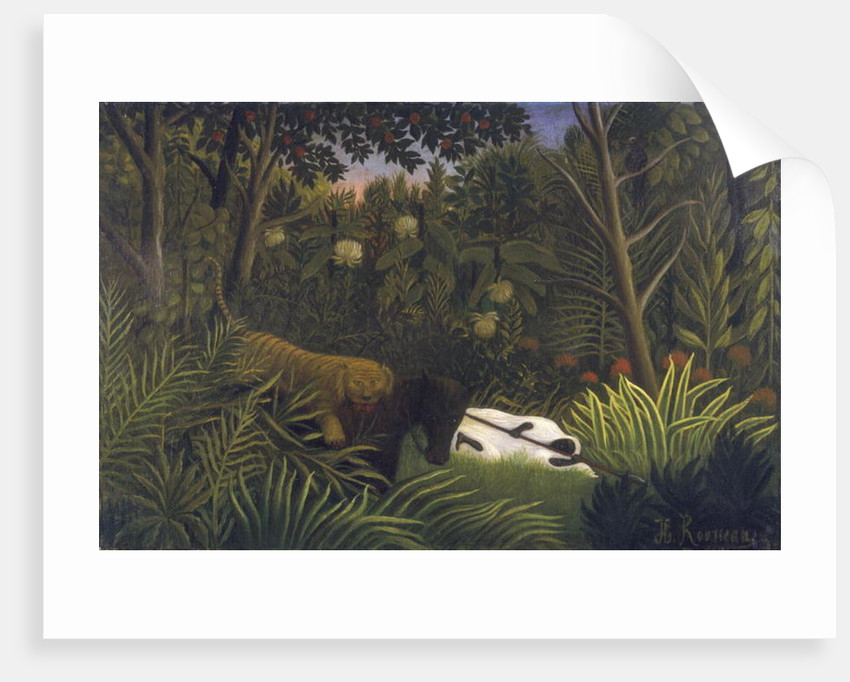 Tiger Attacking a Horse and a Sleeping Black Man by Henri J.F. Rousseau