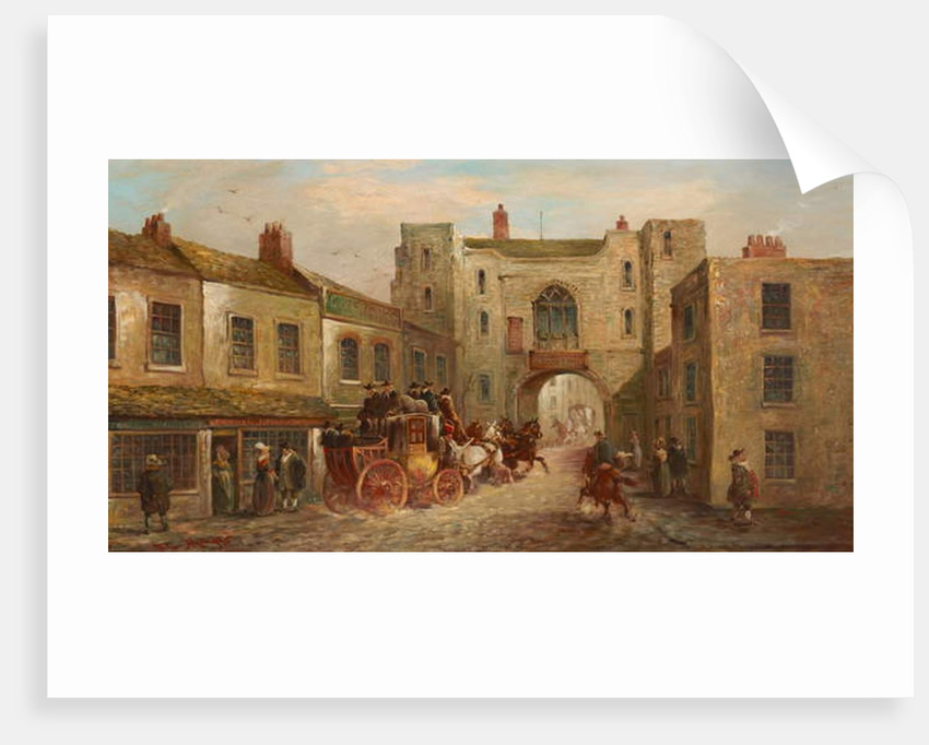 St John's Gate from the North with Coach and Horses, 1880 by J.C. Maggs