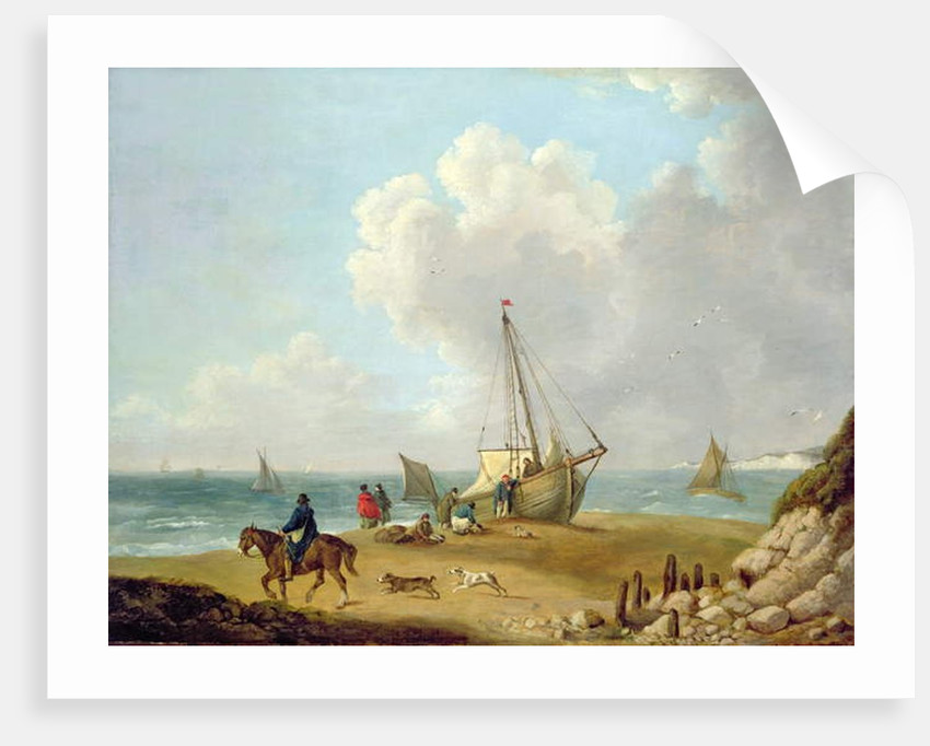 Fisherfolk Unloading their Catch in Freshwater Bay, Isle of Wight by George Morland