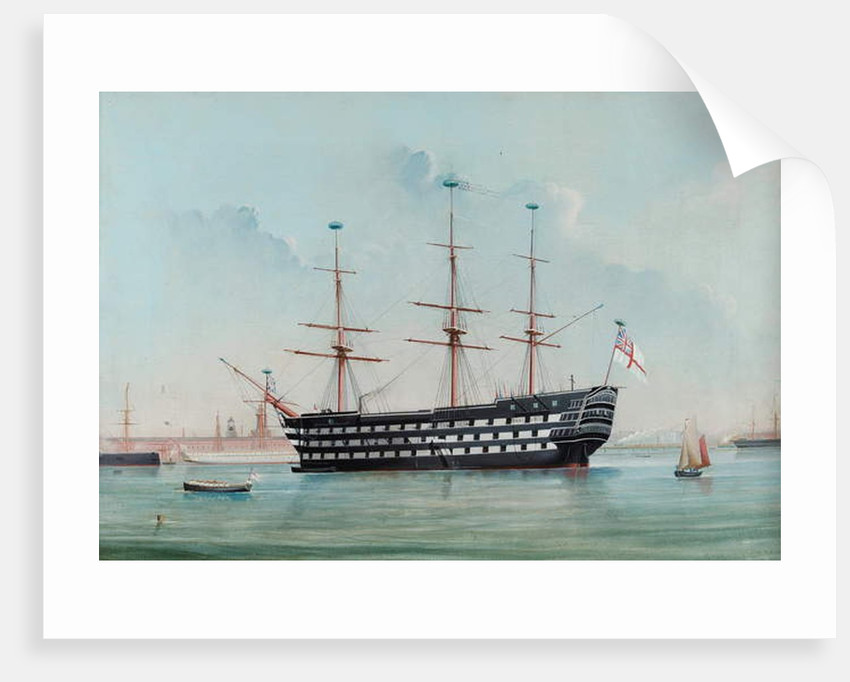 HMS Victory in Portsmouth Harbour, c.1860 by English School