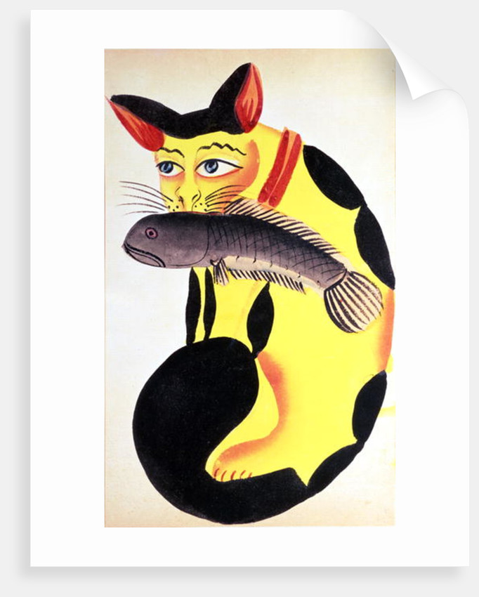 A cat with a fish in its mouth by Indian School
