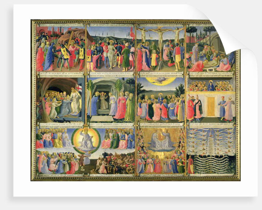 Scenes from the Passion of Christ and the Last Judgement, originally drawers from a cabinet storing silver, c.1450-53 by Fra Angelico