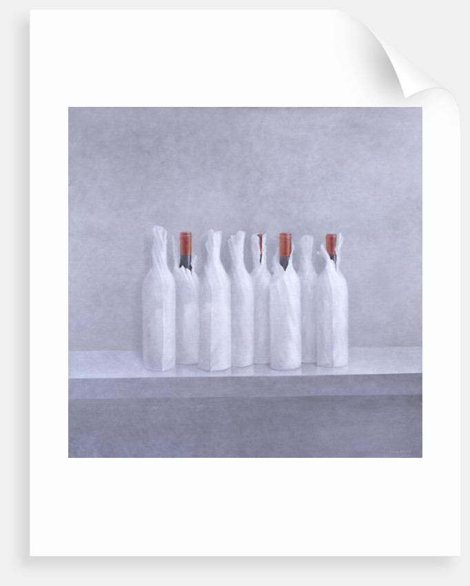 Wrapped bottles on grey by Lincoln Seligman