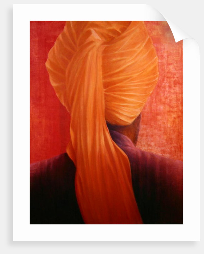 Orange Turban on Red by Lincoln Seligman
