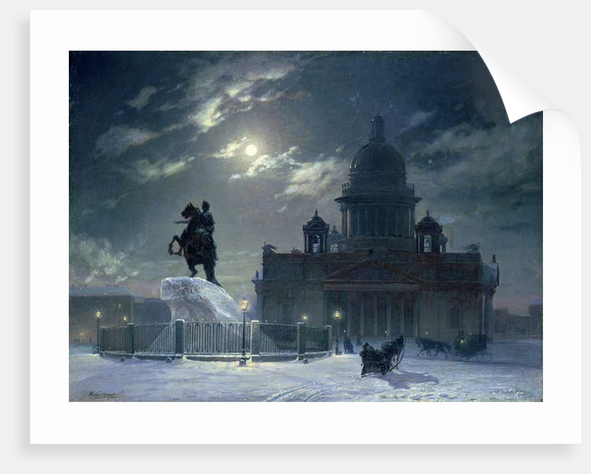 View of the Monument to Peter the Great in Senate Square, St. Petersburg, 1870 by Vasilij Ivanovic Surikov