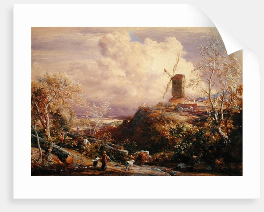 Windmill on a Hill with Cattle Drovers by John Constable