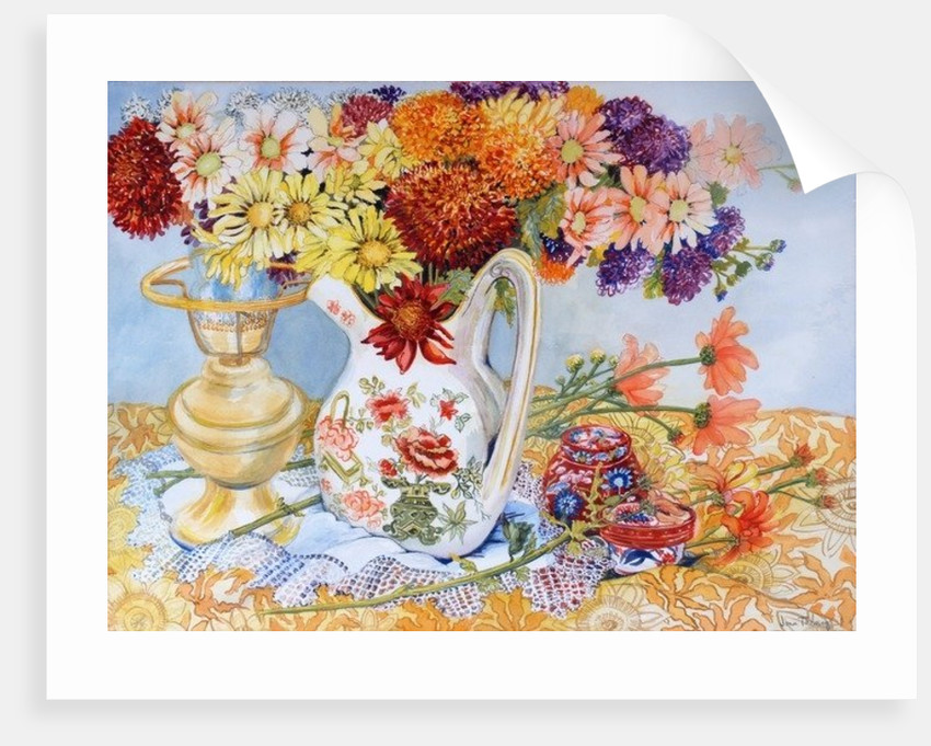 Chrysanthemums in a Chinese Jug by Joan Thewsey