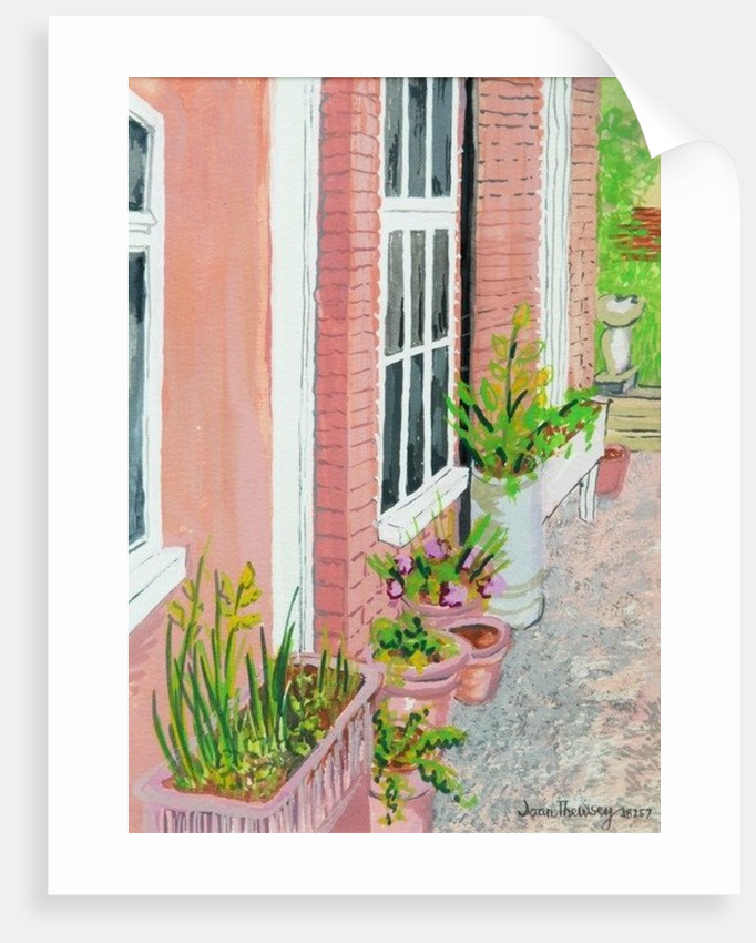 View from the Cottage Kitchen Window with Plants by Joan Thewsey