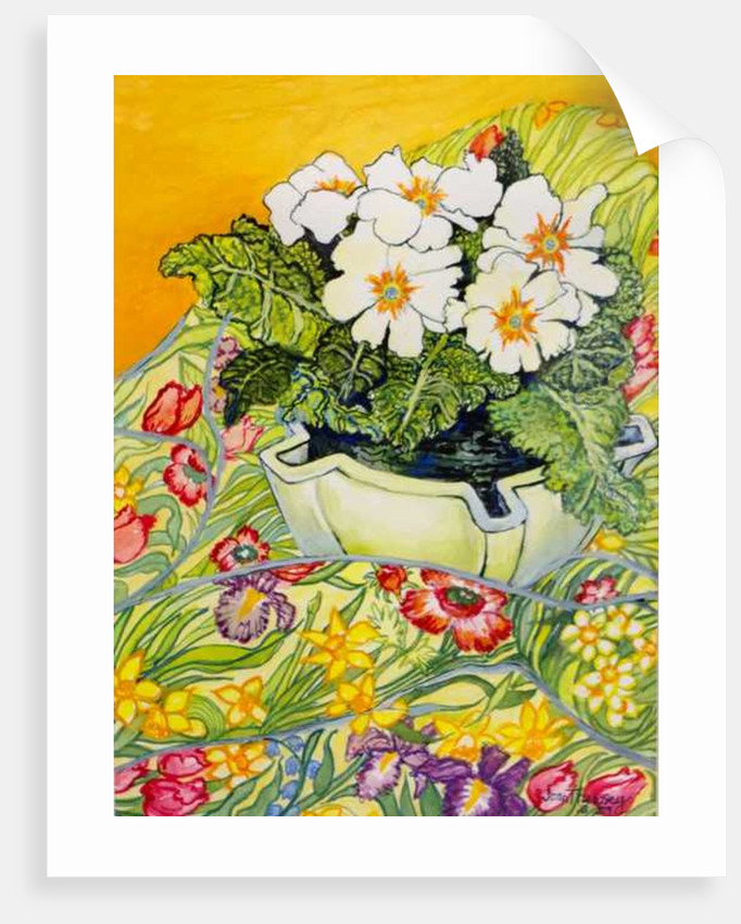 Pale Primrose in a Pot with Spring-flowered Textile by Joan Thewsey