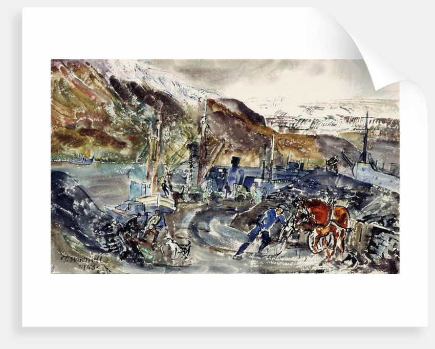 Local Coal Cart and Trawlers, Seydisfjordur, Iceland by Thomas Barclay Hennell