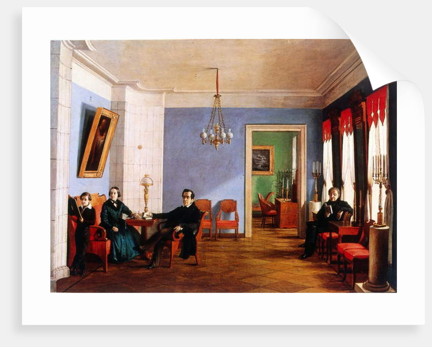 The Batinieva family in their apartment in Moscow, 1846 by Russian School